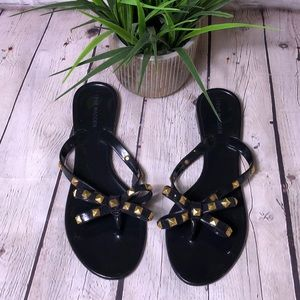 Steve Madden black jelly sandals with gold studs